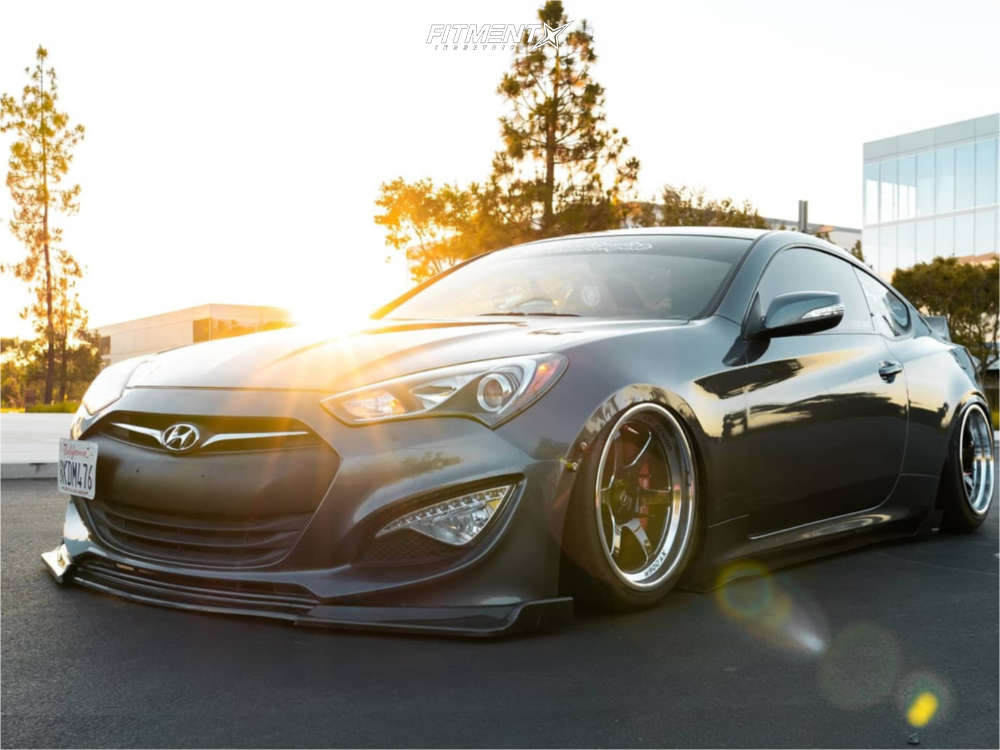 Grey 2015 Genesis Coupe 3.8 R-Spec with Cosmis Racing XT-006R wheels, Federal SS595 tires, and Air Lift Air Suspension