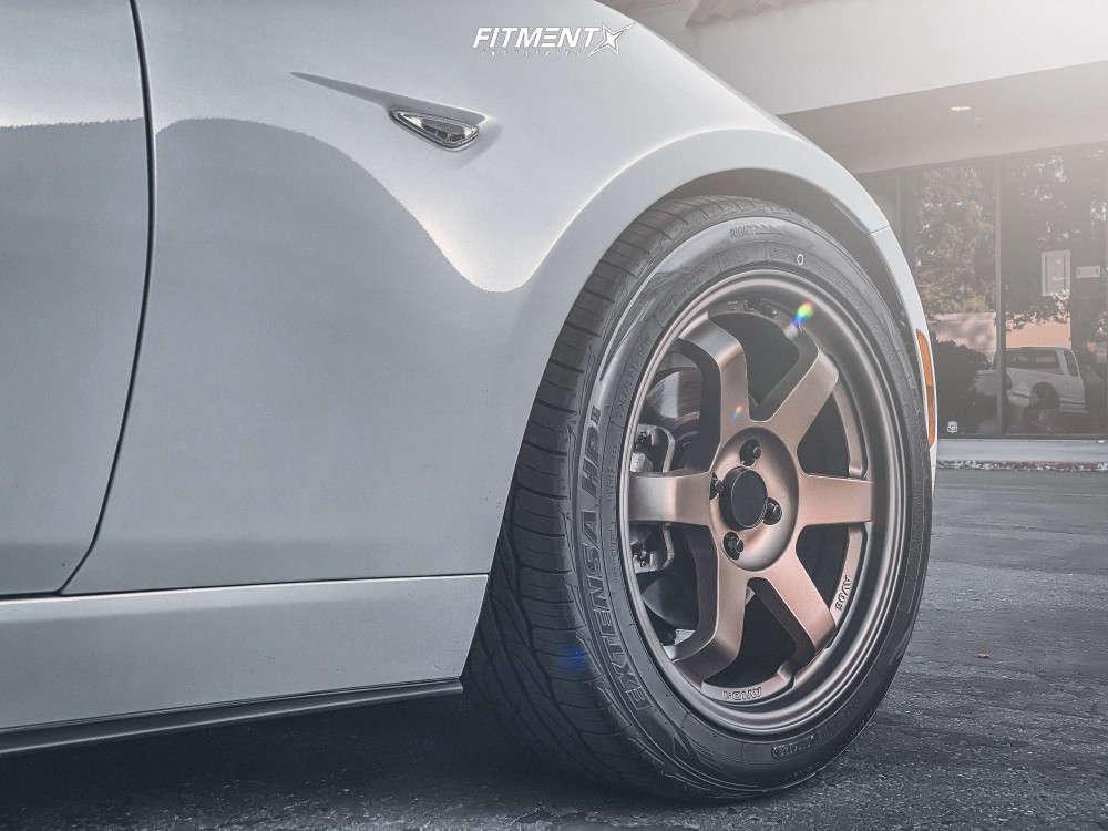 Tire shot of a White 2019 Mazda Miata RF Grand Touring witih AVID1 AV6 wheels, Toyo Extensa HP II tires, and lowering springs