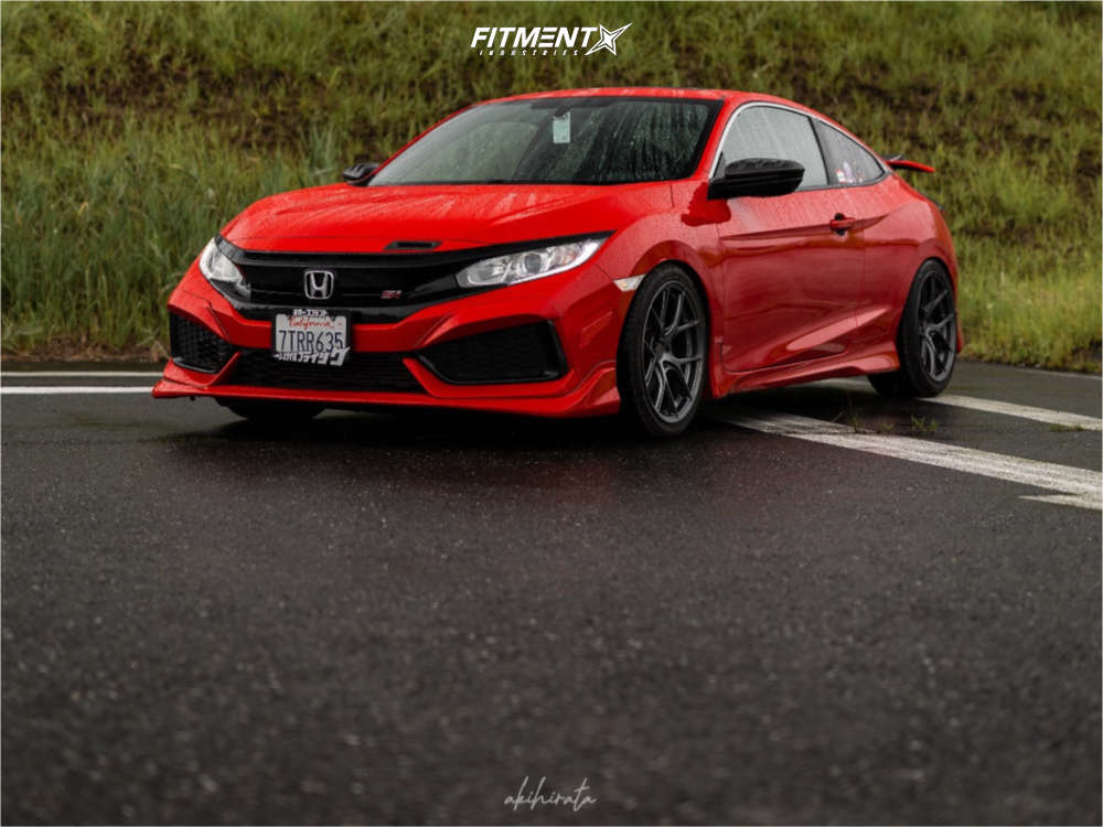 2017 HONDA CIVIC SI running Titan7 Ts-5 wheels, Toyo Tires Proxes Sport tires, and D2 Racing Lowering Springs