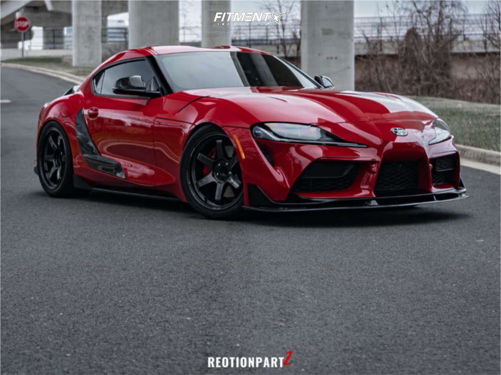 2020 TOYOTA GR SUPRA PREMIUM with a staggered wheel and tire setup on Volk Te37 Ultra wheels,Toyo Tires Proxes R888r, and Air Lift Performance Air Suspension