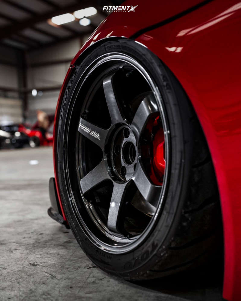 wheel shot of a 2020 TOYOTA GR SUPRA PREMIUM with a staggered wheel and tire setup on Volk Te37 Ultra wheels,Toyo Tires Proxes R888r, and Air Lift Performance Air Suspension