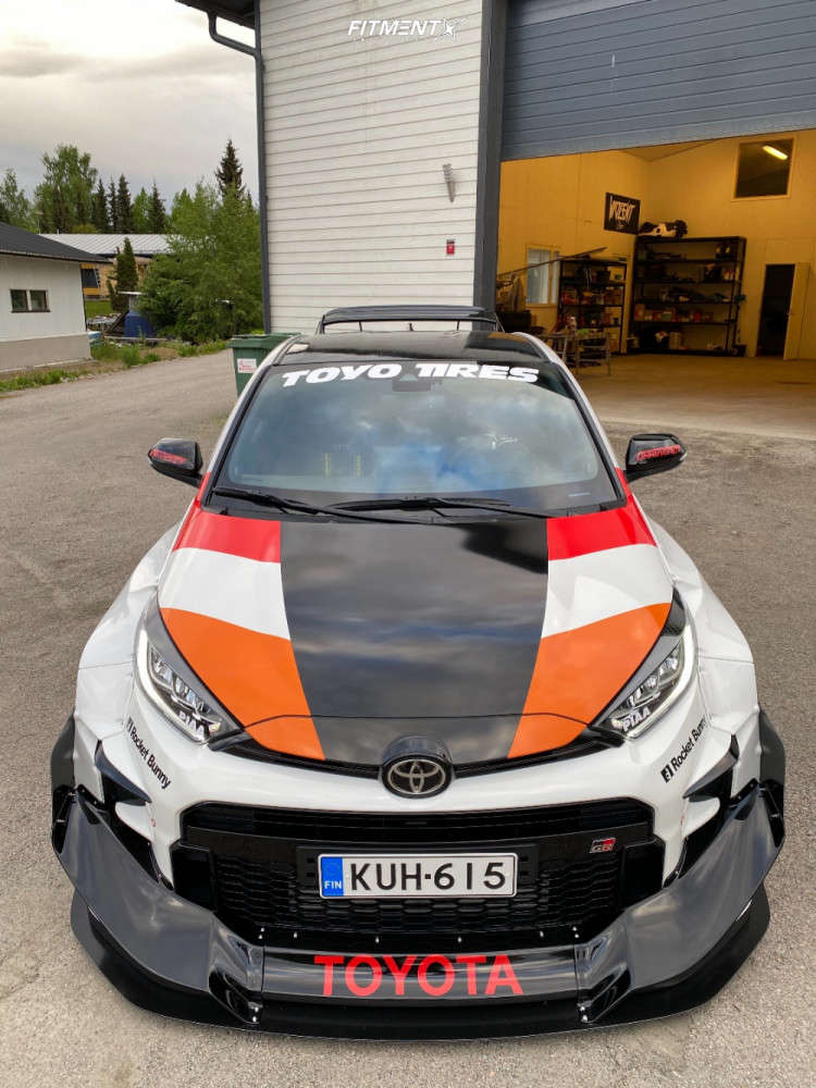 Front shot of the 2020 Toyota Yaris Base with Gr Yaris with pandem body kit running Volk 21c wheels, Toyo Tires Proxes R88R, and BC Racing Coilovers