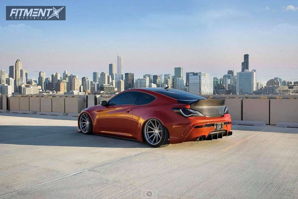 Rear shot of a 2016 HYUNDAI GENESIS COUPE 3.8 ULTIMATE with Rohana Rf1 wheels, BFGoodrich tires, and Air Lift Performance Air Suspension