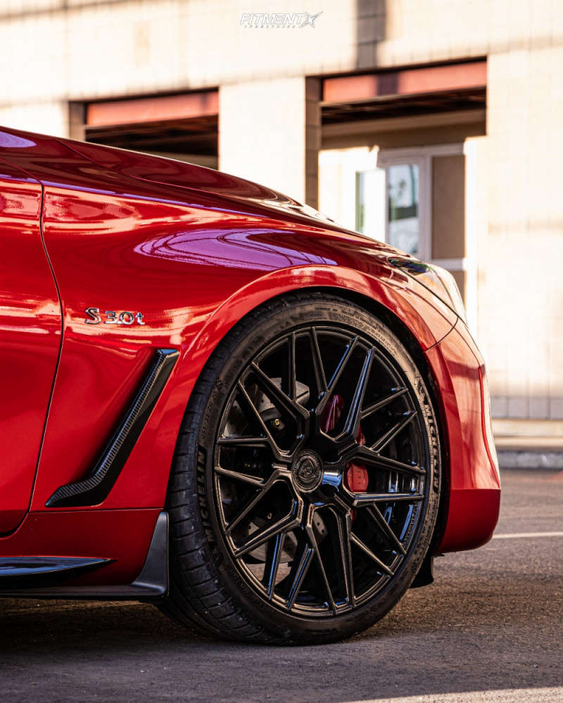wheel shot of a 2020 INFINITI Q60 RED SPORT 400 with Rohana Rfx10, Michelin Pilot Sport 4 S, and RSR Coilovers