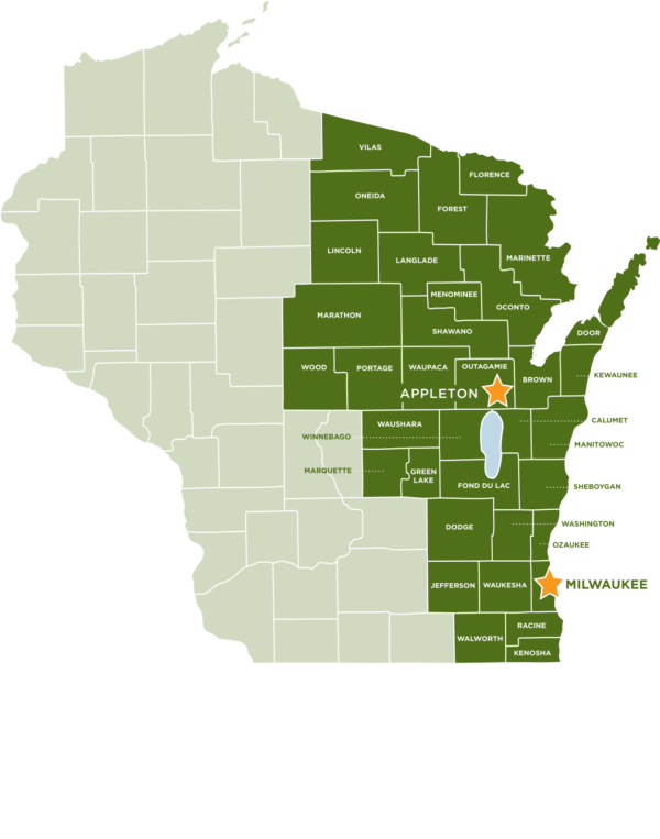 A map of the impact from Feeding America's Eastern Wisconsin location