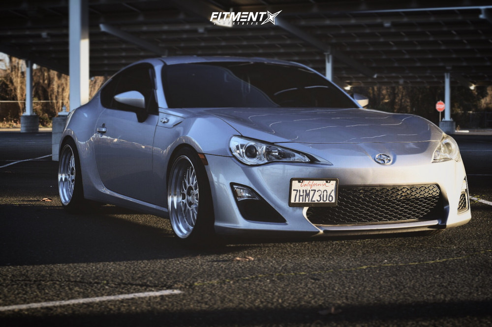 Grey modified Scion FR-S with ESR wheels, Nankang tires, and Faction Fab coilovers