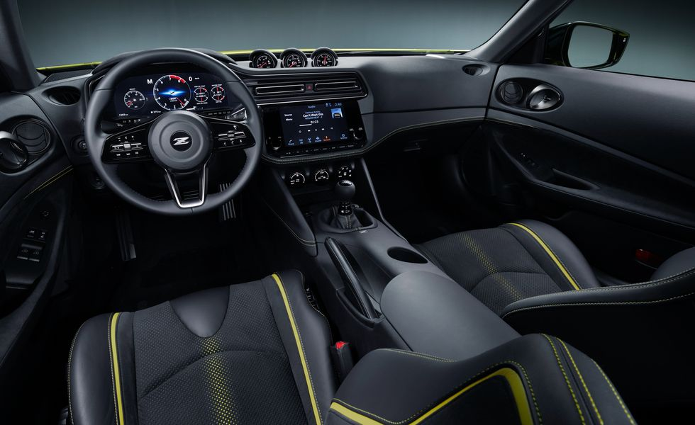 An interior shot of the redesigned interior of the Nissan Z car!