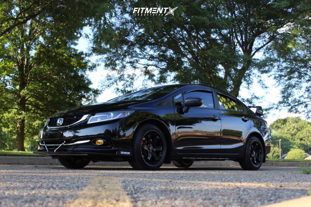 Black 2014 Honda Civic EX with AVID AV6, Michelin Pilot Sport, and Stock Suspension