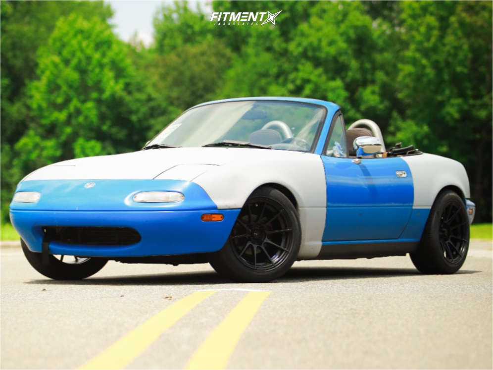 Blue and white Mazda miata base with Advanti Racing Storm S1 wheels, Hankook Ventus V2 Concept 2 tires, and Tein coilovers