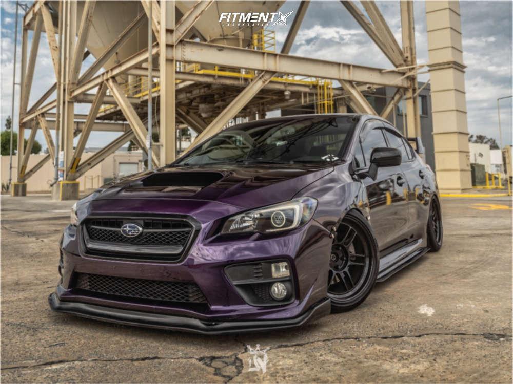Purple 2015 Subaru WRX Premium Enkei RPF1, Pirelli tires, and Fortune Auto coilovers