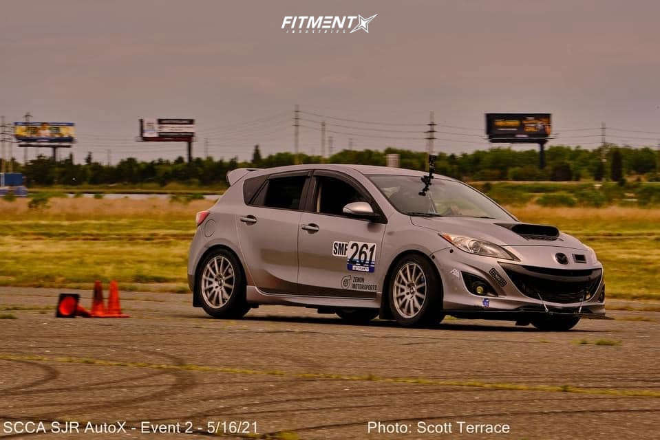 2012 Mazda MazdaSpeed3 Base with Enkei SC03 wheels, Nexen N'fera tires, and H&R coilovers