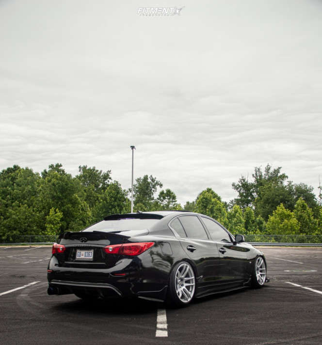 Black 2015 Infiniti Q50 Sport running the ESR CS8 19x10.5 +22mm with Ohtsu FP8000 tires, and BC racing coilovers