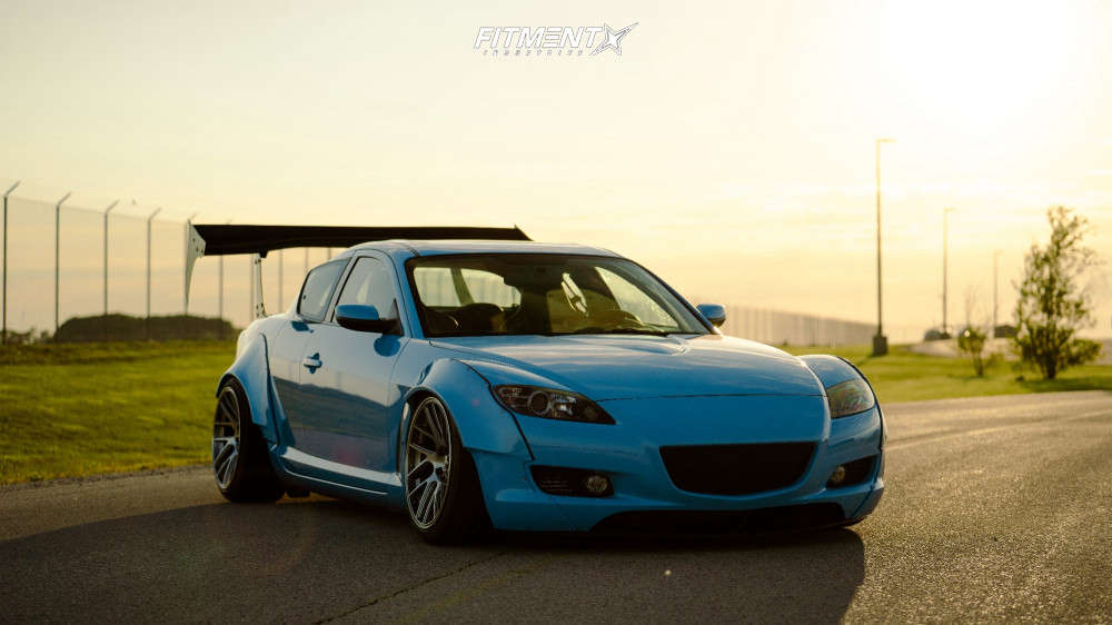 2004 Mazda RX-8 running The Elder 18x9.5 +22mm with Hankook Ventus V12 and air suspension