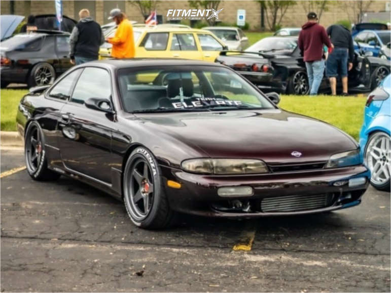 A purple 1996 Nissan 240SX SE with the Kansei KNP 18x9.5 +35mm, Bridgestone Potenza RE-71R, and coilovers
