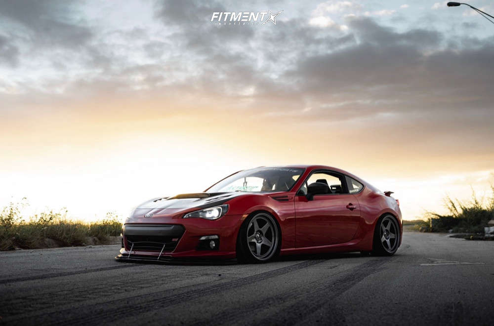 Red 2016 Subaru BRZ limited with Kansei KNP wheels, Achilles 868 all season tires, and coilovers