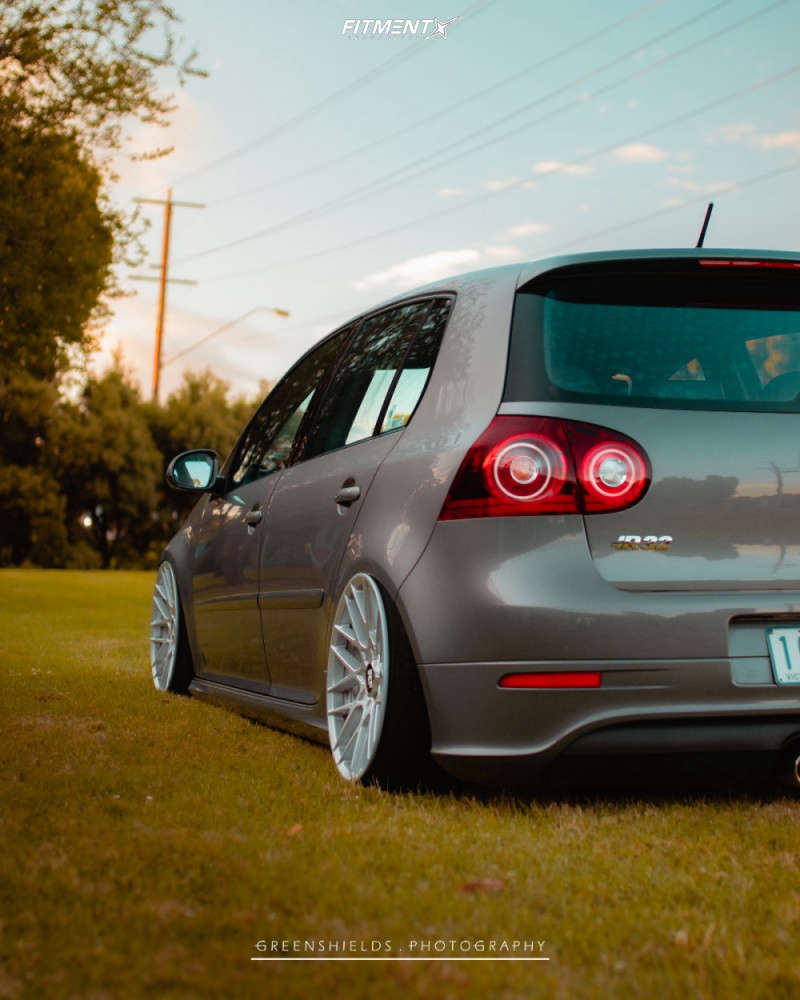 Grey 2008 Volkswagen GTI R32 with Rotiform RSE 18x9.5 +35mm with Michelin Pilot Sport 4 S tires, and air suspension