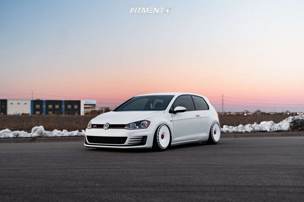 A white 20126 GTI S running the Rotiform RSE 19x8.5+35mm, Nitto Neo Gen Tires, and air lift air suspension