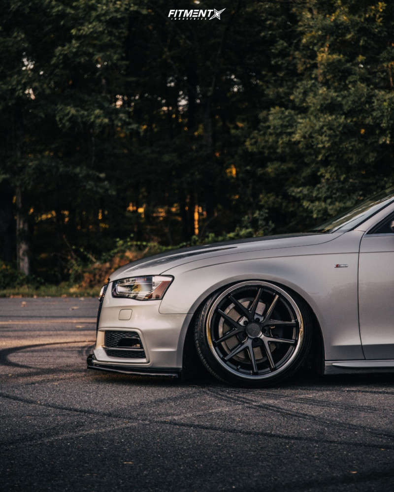 Silver 2014 Audi A4 Quattro running the Rohana RC9 19x8.5 +30mm with Toyo tires, and air lift suspension