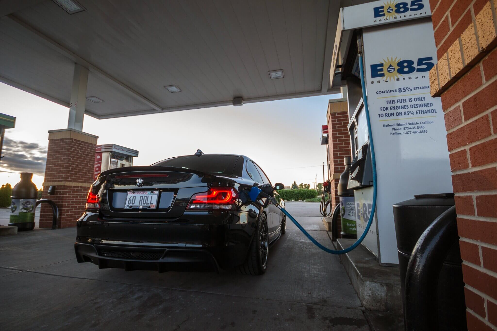 BMW 335i filling up with E85 fuel at the gas station