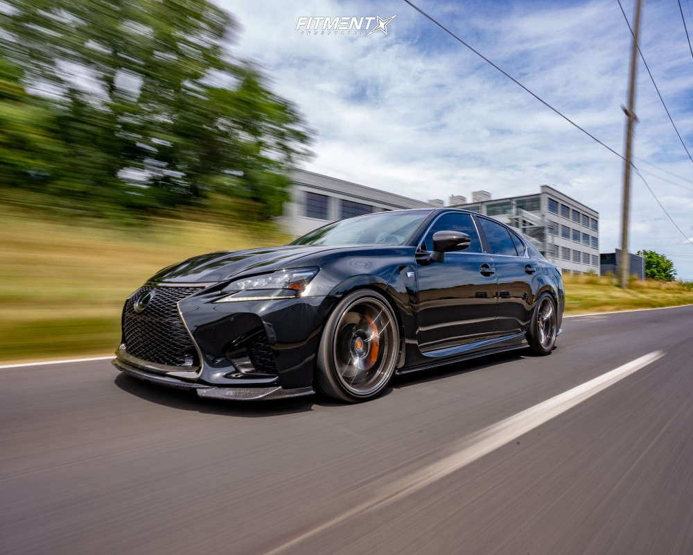 A Black 2018 Lexus GS F with Variant Krypton wheels, Michelin tires, and coilovers