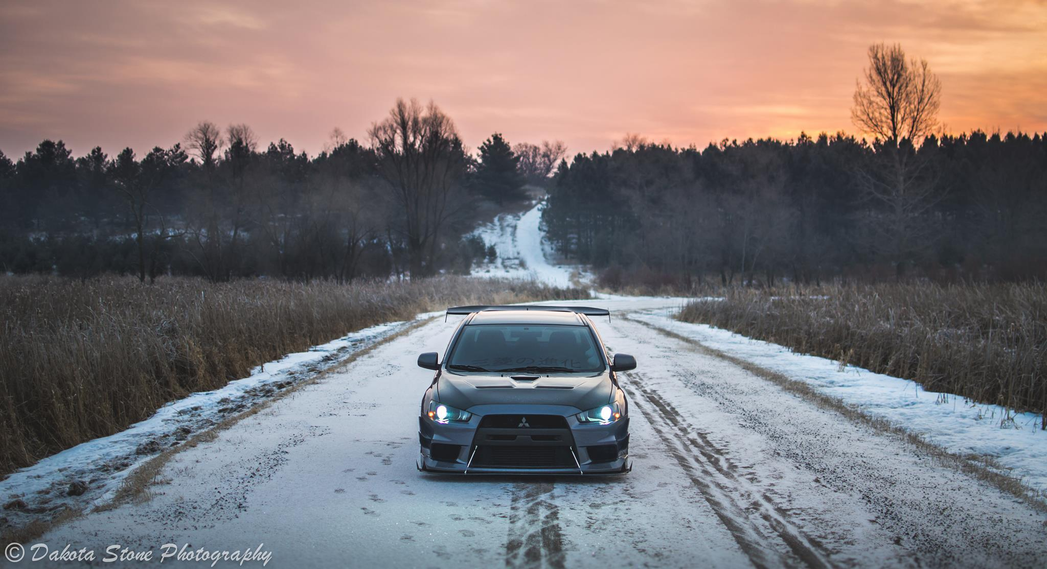 Lowered Evo in the snow