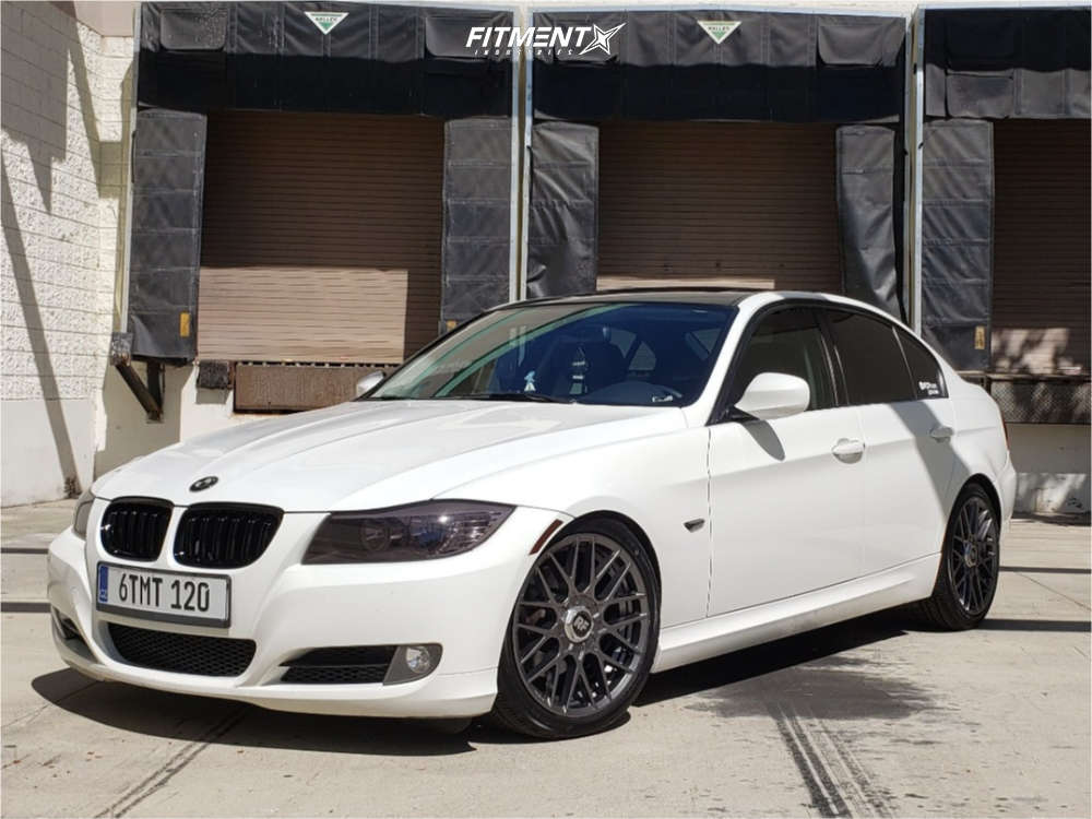 Front shot of a White 2011 BMW 328I Base with Rotiform RSE wheels, Yokohama Advan Sport A/S+ tires, and BC Racing coilovers