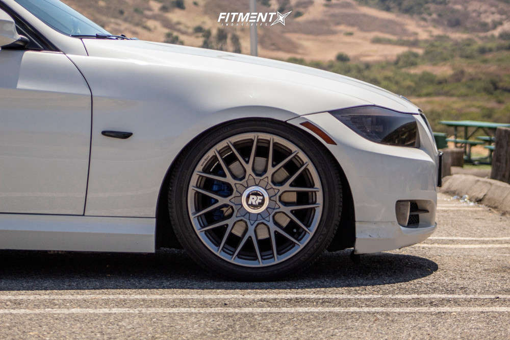 Wheel shot of a White 2011 BMW 328I Base with Rotiform RSE wheels, Yokohama Advan Sport A/S+ tires, and BC Racing coilovers