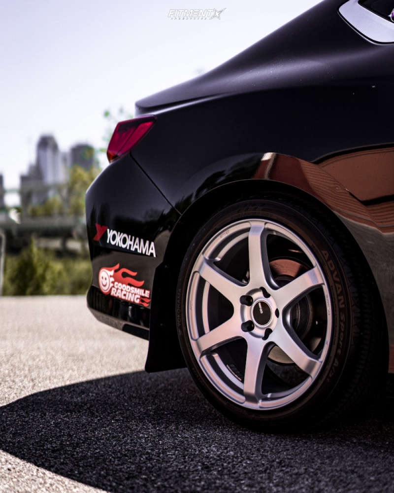 wheel shot of a 2016 Honda Civic Accord LX-S with Enkei TS6 wheels, Yokohama tires, and Tein coilovers